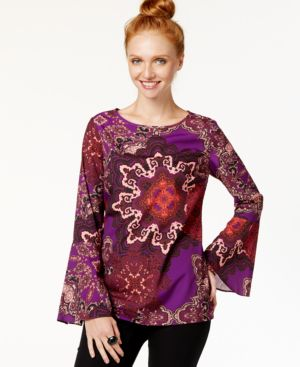 Eci Bell-Sleeve Damask-Print Top