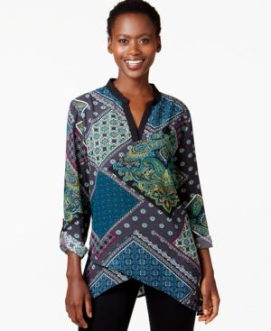 Ny Collection Tab-Sleeve Paisley-Print Blouse