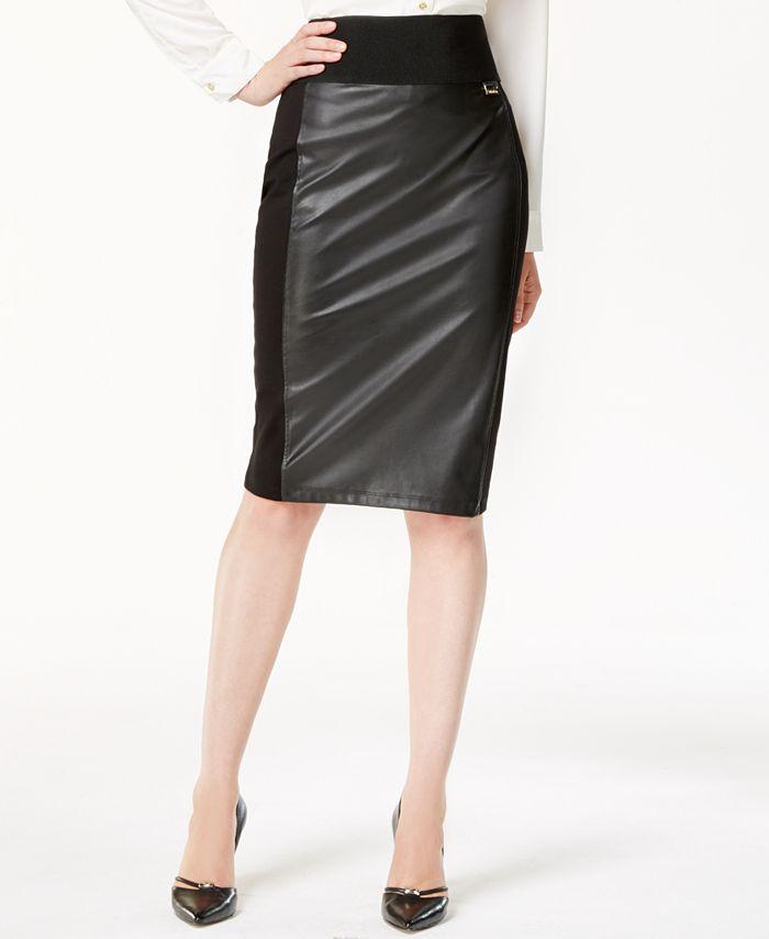 Calvin Klein - Faux-Leather Panel Pencil Skirt