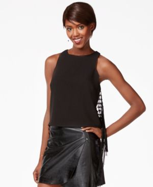 Bar Iii Sleeveless Fringed Top, Only at Macy's