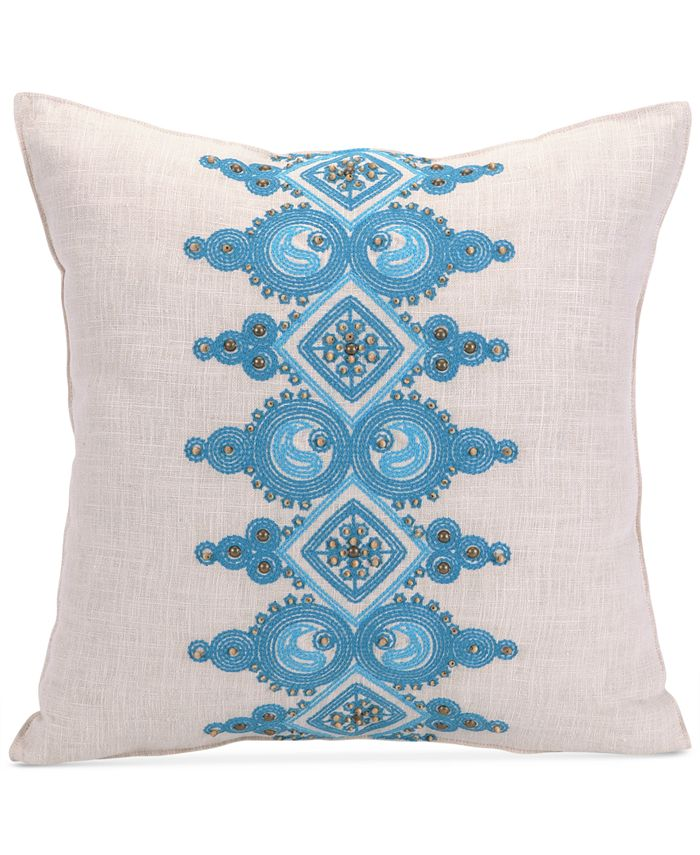 "Trina Turk - Catalina Paisley 18"" Square Embellished Band Decorative Pillow"