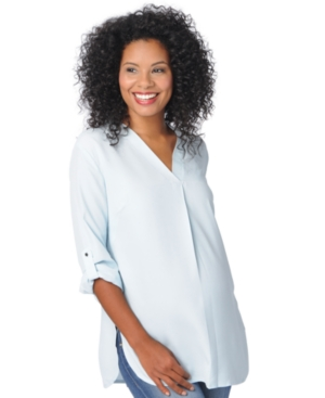 Motherhood Maternity Roll-Tab-Sleeve Shirt plus size,  plus size fashion plus size appare