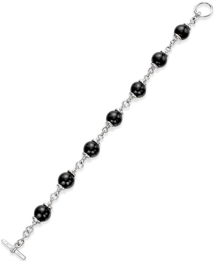 Macy's Onyx (10mm) Beaded Bracelet in Sterling Silver & Reviews - Bracelets - Jewelry & Watches - Macy's