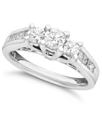 14k White Gold Three-Stone Diamond Ring (1 ct. t.w.)