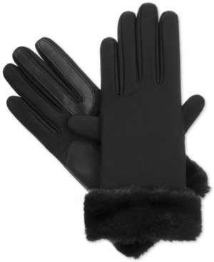 Vintage Style Gloves Isotoner Signature Boxed Fur Cuff Spandex SmarTouch Tech Gloves $35.00 AT vintagedancer.com