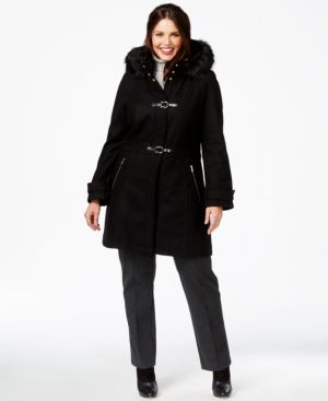 Ivanka Trump Plus Size Faux-Fur-Trim Buckled Duffle Coat
