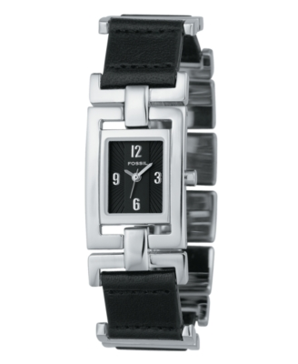 Fossil Watch, Women's Black Leather and Stainless Steel Strap ES1851
