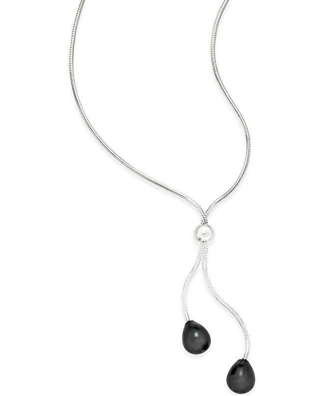 Macy's Onyx (9 x 8mm) Lariat Necklace in Sterling Silver