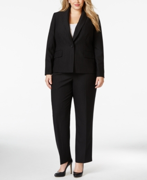 Le Suit Plus Size One-Button Metallic-Stripe Pantsuit