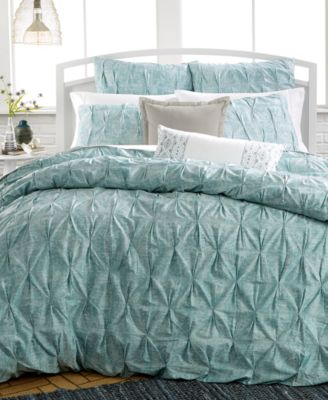 Bar III Diamond Pleat Mineral Blue Full/Queen Duvet Cover, Only at Macy's