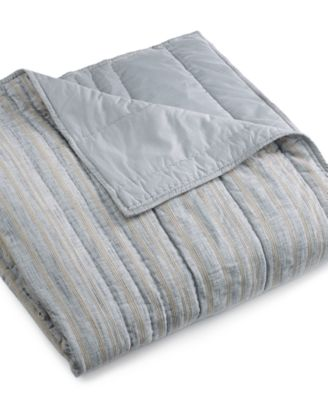 Hotel Collection Linen Stripe King Coverlet, Only at Macy's