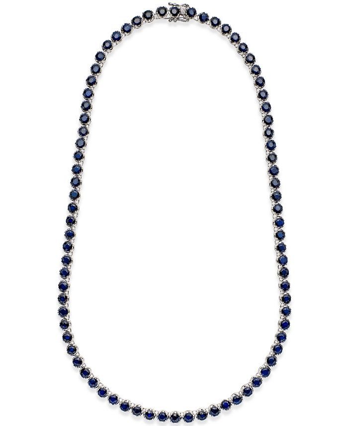 Macy's - Black Sapphire Collar Necklace (25 ct. t.w.) in Sterling Silver