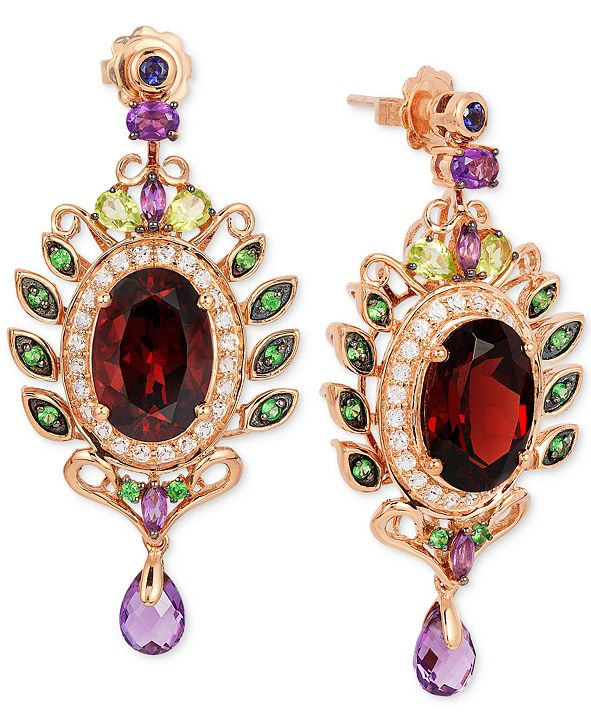 Le Vian Crazy Collection® Garnet (10 ct. t.w.) and Multi-Stone (3-5/8 ct. t.w.) Drop Earrings in 14k Rose Gold
