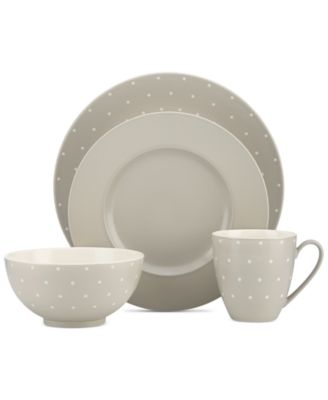 kate spade new york Larabee Dot Grey Collection Stoneware 4-Pc. Place Setting