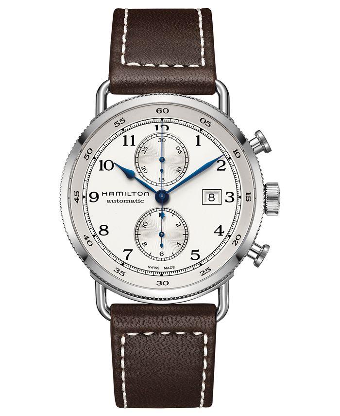 Hamilton - Men's Swiss Automatic Chronograph Khaki Navy Brown Leather Strap Watch 44mm H77706553