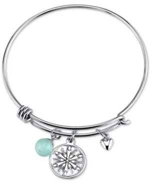 Disney Frozen Snowflake Amazonite Charm Bracelet in Stainless Steel