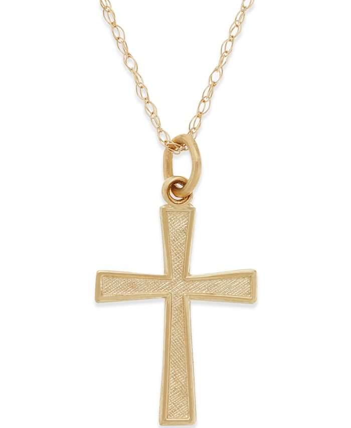Macy's - Small Cross Pendant Necklace in 14k Gold