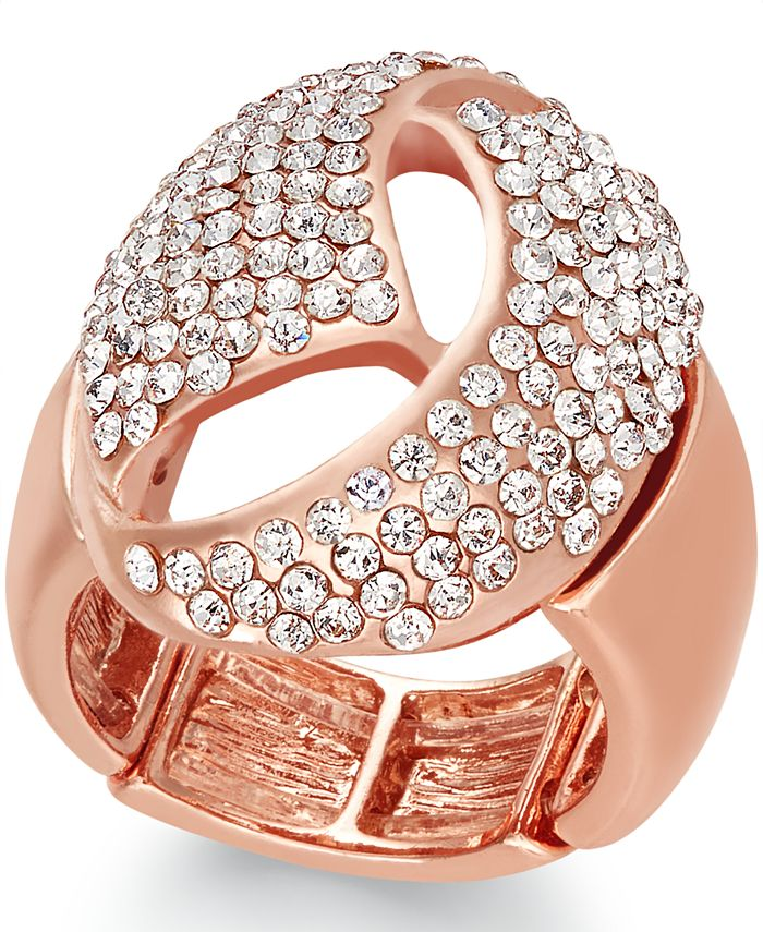 INC International Concepts - Rose Gold-Tone Crystal Dome Stretch Ring