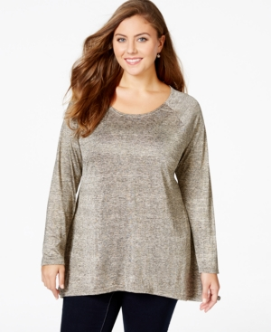 American Rag Plus Size Long-Sleeve Scoop-Neck Top, Only at Macy's