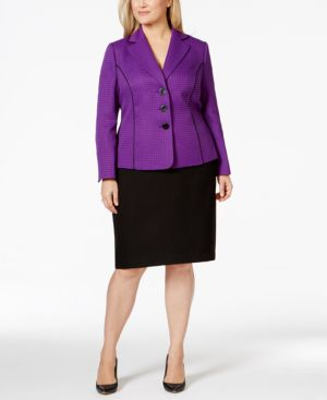 Le Suit Plus Size Pipe-Trim Jacket Skirt Suit