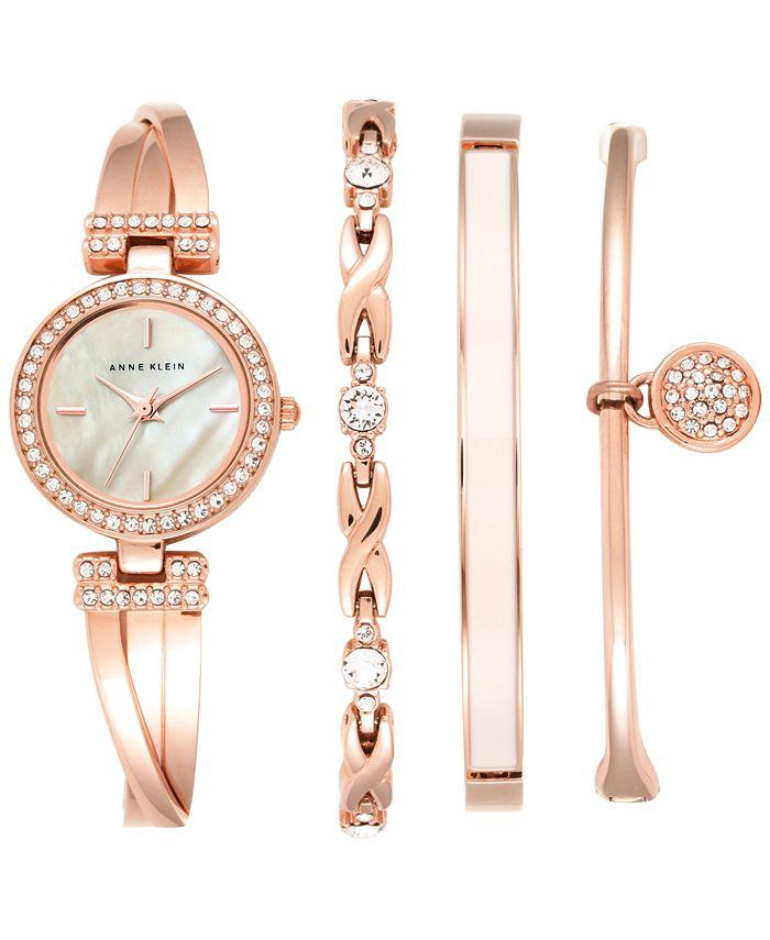Anne Klein - Women's Crystal Accent Rose Gold-Tone Stainless Steel Bangle Bracelet Watch & Bracelets Set 26mm AK/2238RGST