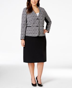 Tahari Asl Plus Size Printed Jacquard Skirt Suit