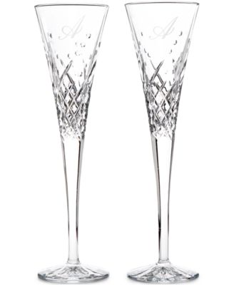 Waterford Wishes Happy Celebrations Monogram Toasting Flutes Pair, Script