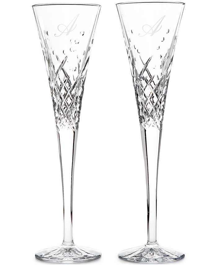 Waterford - Crystal 2-Pc. Wish Happy Block Monogram Toasting Flutes Pair