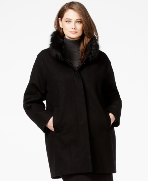 Jones New York Plus Size Faux-Fur-Collar Coat