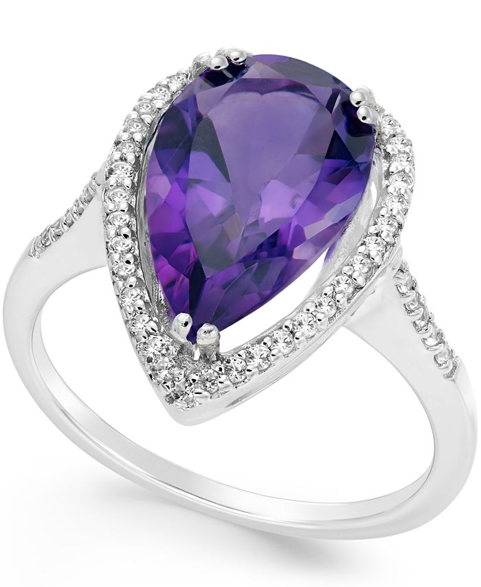 Macy's - Amethyst (4 ct. t.w.) and White Topaz (1/4 ct. t.w.) Halo Ring in Sterling Silver
