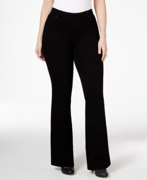 Style & Co. Plus Size Flare-Leg Pull-On Black Rinse Wash Jeans, Only at Macy's