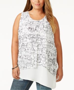 Melissa McCarthy Seven7 Plus Size Layered Asymmetrical Tank Top