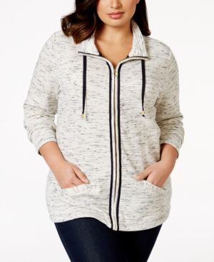 Charter Club Plus Size Space-Dyed Active Jacket, Only at Macy's