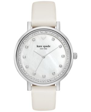 kate spade new york Women's Monterey White Leather Strap Watch 38mm KSW1049