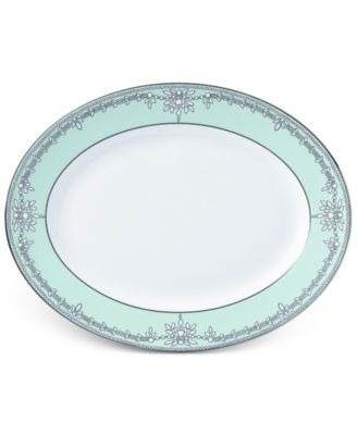 Marchesa by Lenox Empire Pearl Turquoise Bone China Oval Platter