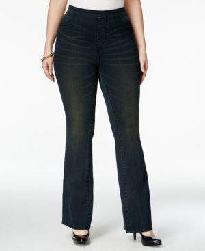 Nanette by Nanette Lepore Plus Size Hampton Pull-On Flared Darkfade Wash Jeans