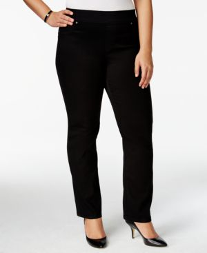 Style & Co. Plus Size Pull-On Straight-Leg Black Wash Jeans