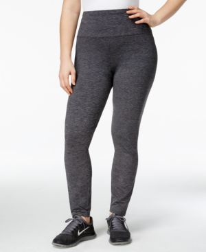 Style & Co. Sport Plus Size Tummy-Control Space-Dyed Leggings, Only at Macy's