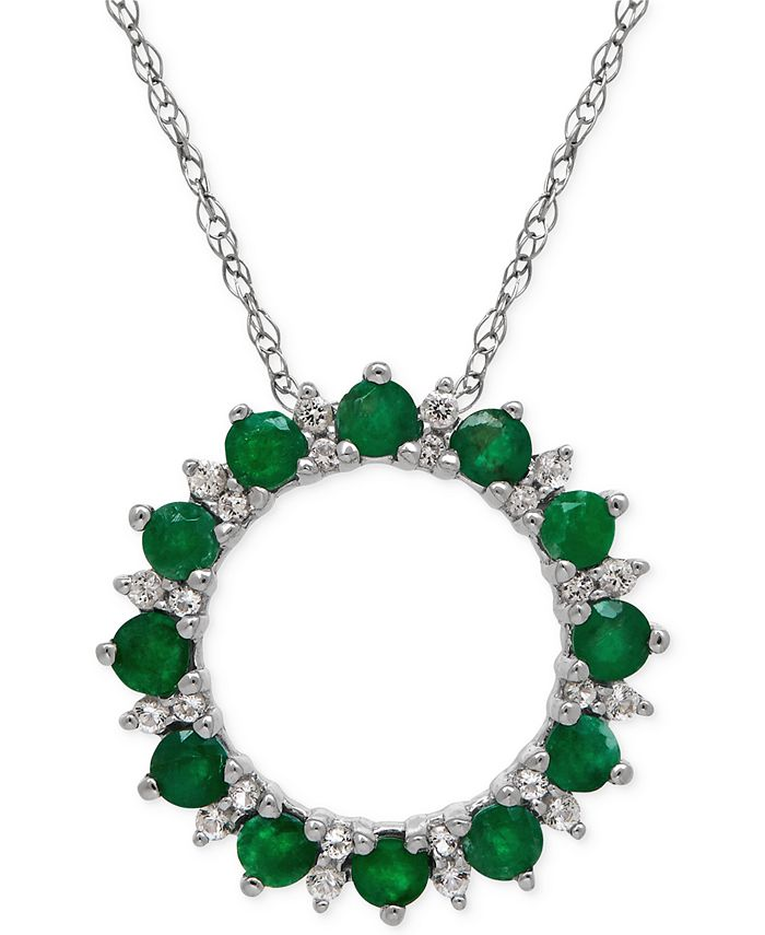 Macy's - Emerald (9/10 ct. t.w.) and White Topaz (1-9/10 ct. t.w.) Circle Pendant Necklace in Sterling Silver