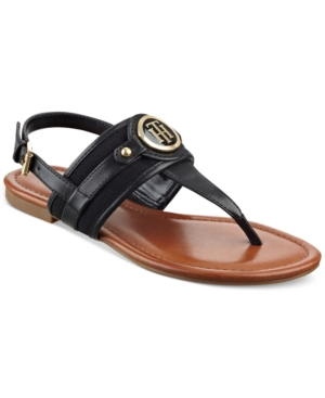 Tommy Hilfiger Shane Logo T-Strap Slingback Sandals Women's Shoes