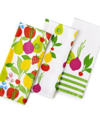 Martha Stewart Collection 3-Pc. Fresh Flavors Kitchen Towel Set, Only at Macy's