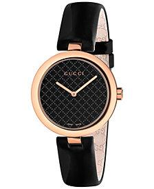Gucci Women's Swiss Diamantissima Black Leather Strap Watch 32mm YA141401