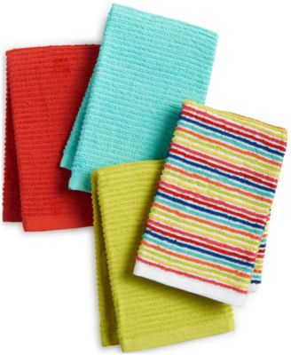 Fiesta Ribbed & Striped Kitchen Towel Collection 4-Pc. Kitchen Towel Set