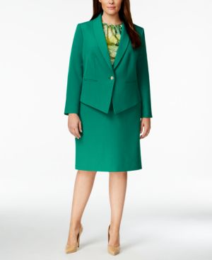 Tahari Asl Plus Size Shawl-Collar Skirt Suit