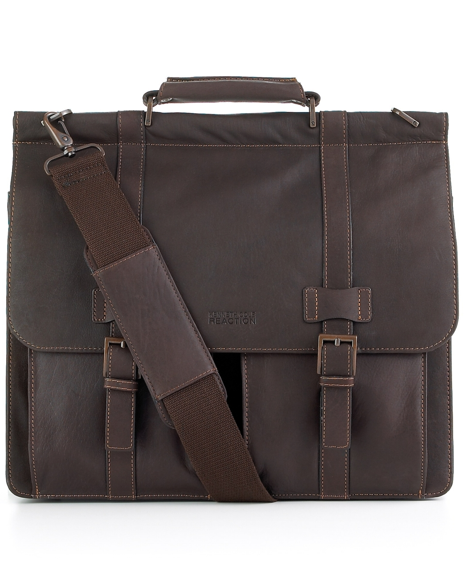 Kenneth Cole Reaction Colombian Leather Dowel Rod Double Gusset Laptop Brief   Business & Laptop Bags   luggage