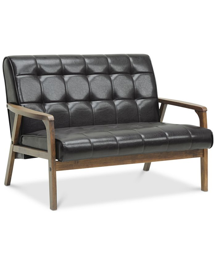 Furniture - Baxton Studio Caden Mid-Century Faux Leather Loveseat, Direct Ship