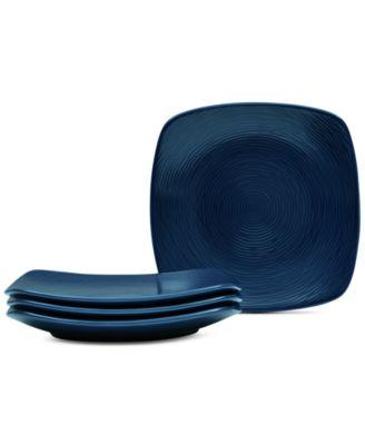 Noritake Navy-On-Navy Swirl 4-Pc. Square Appetizer Plates