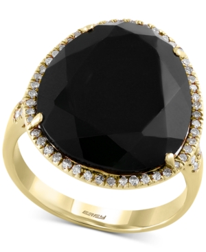 Eclipse by Effy Black Onyx (9-9/10 ct. t.w.) and Diamond (1/4 ct. t.w.) Ring in 14k Gold