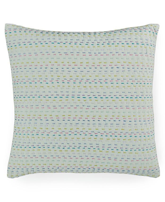 "bluebellgray - Melrose Mint Esme Kantha 16"" Square Decorative Pillow"