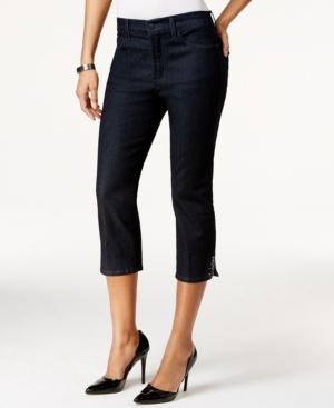 Nydj Ariel Cropped Rhinestone-Button Dark Enzyme Wash Jeans